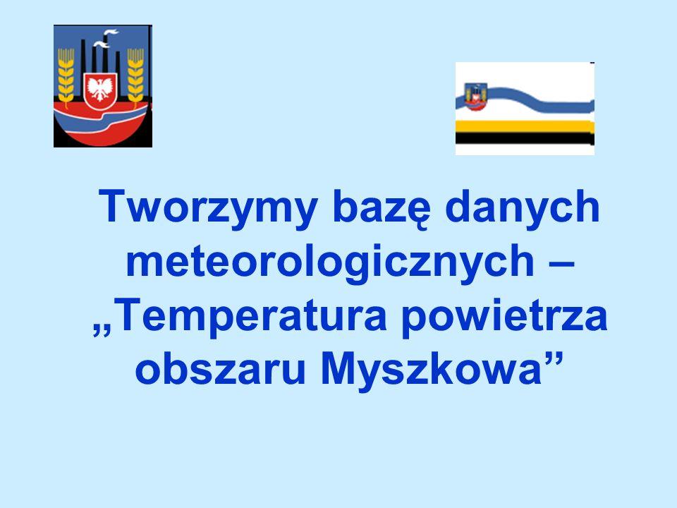 """Tworzymy bazę danych meteorologicznych – """"Temperatura powietrza obszaru Myszkowa"""