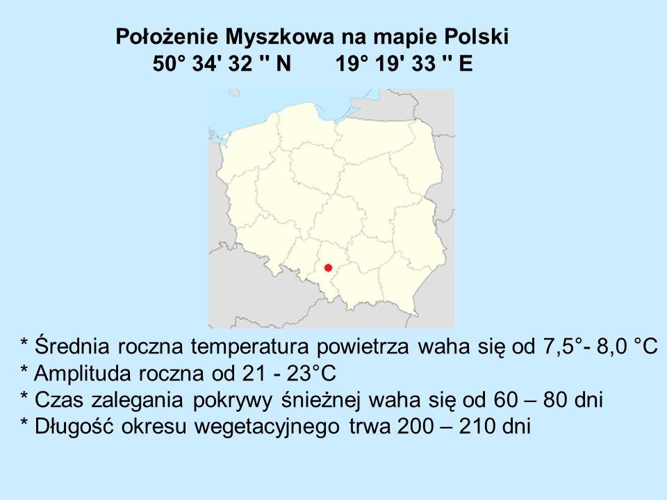Położenie geograficzne i ukształtowanie terenu Myszkowa powodują na tym obszarze dużą zmienność i nieregularność stanów atmosferycznych, co wiąże się m.in.