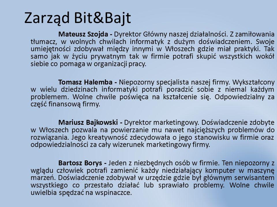 Zarząd Bit&Bajt Mateusz Szojda - Dyrektor Główny naszej działalności.