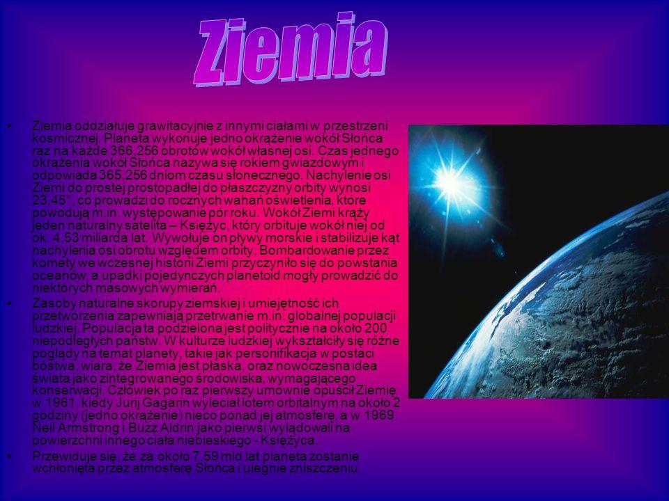 Ziemia oddziałuje grawitacyjnie z innymi ciałami w przestrzeni kosmicznej.