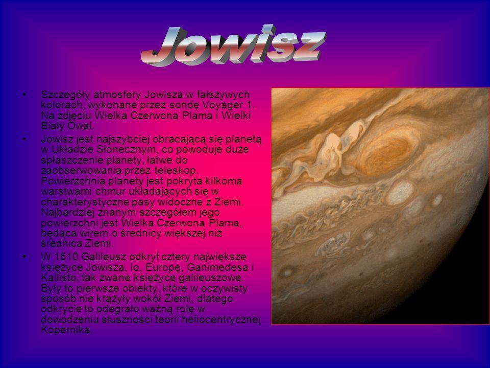 Szczegóły atmosfery Jowisza w fałszywych kolorach, wykonane przez sondę Voyager 1. Na zdjęciu Wielka Czerwona Plama i Wielki Biały Owal. Jowisz jest n