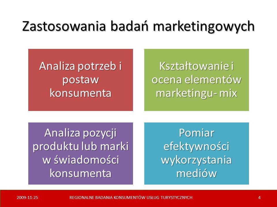 Zastosowania badań marketingowych Analiza potrzeb i postaw konsumenta Kształtowanie i ocena elementów marketingu- mix Analiza pozycji produktu lub marki w świadomości konsumenta Pomiar efektywności wykorzystania mediów 2009-11-25REGIONALNE BADANIA KONSUMENTÓW USŁUG TURYSTYCZNYCH4