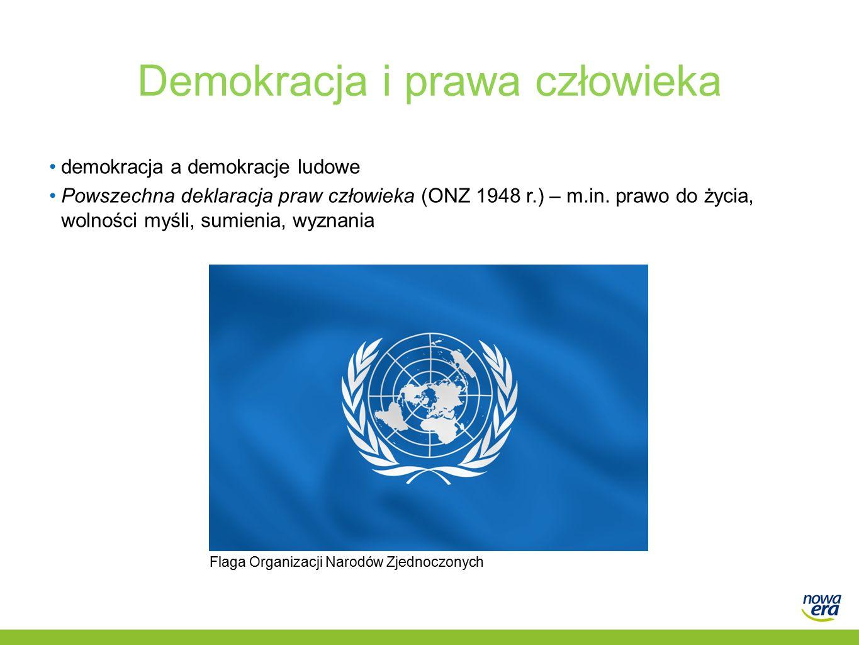 Demokracja i prawa człowieka demokracja a demokracje ludowe Powszechna deklaracja praw człowieka (ONZ 1948 r.) – m.in.