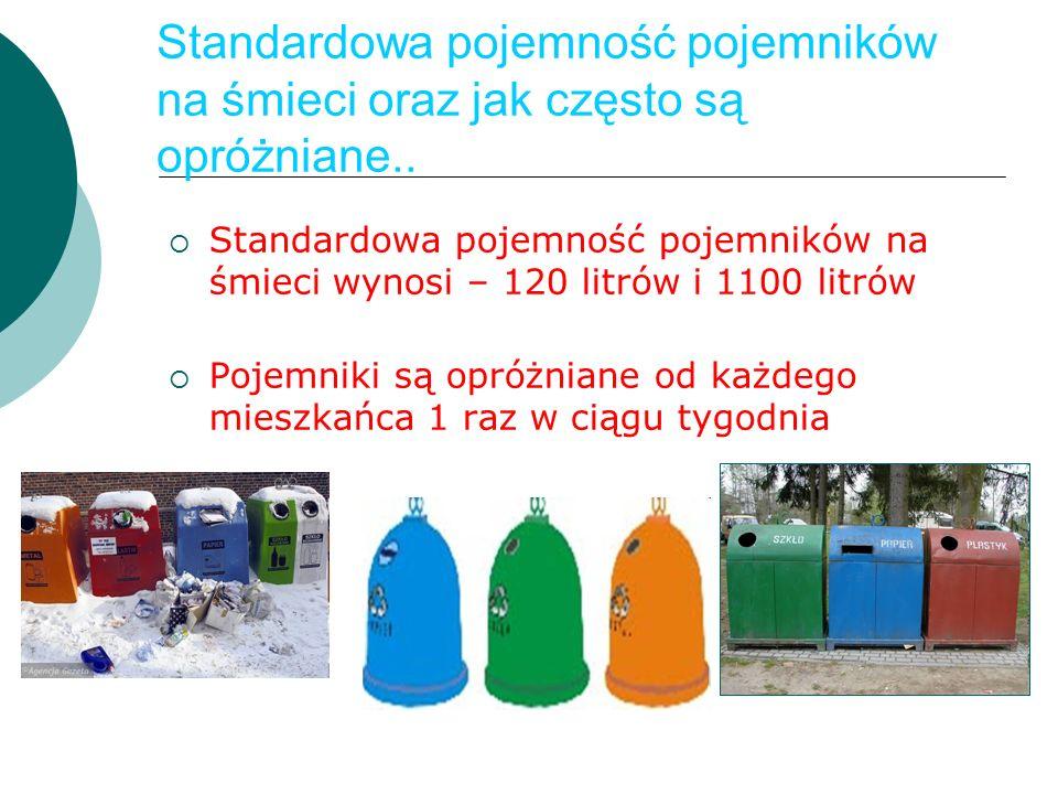 Standardowa pojemność pojemników na śmieci oraz jak często są opróżniane..