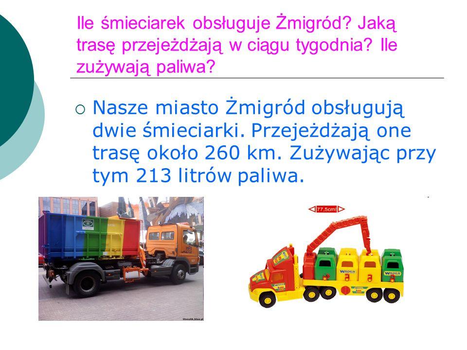 Ile śmieciarek obsługuje Żmigród. Jaką trasę przejeżdżają w ciągu tygodnia.