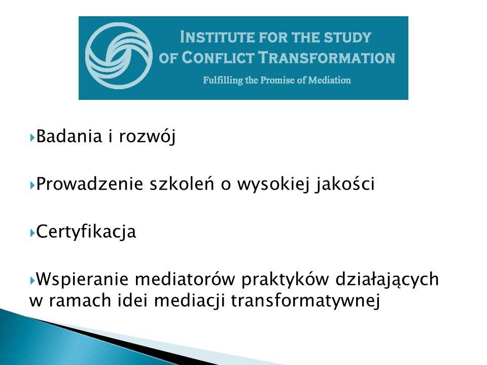  Badania i rozwój  Prowadzenie szkoleń o wysokiej jakości  Certyfikacja  Wspieranie mediatorów praktyków działających w ramach idei mediacji transformatywnej