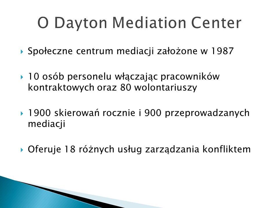  Społeczne centrum mediacji założone w 1987  10 osób personelu włączając pracowników kontraktowych oraz 80 wolontariuszy  1900 skierowań rocznie i 900 przeprowadzanych mediacji  Oferuje 18 różnych usług zarządzania konfliktem