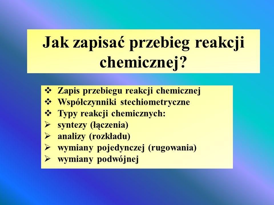 Jak zapisać przebieg reakcji chemicznej?  Zapis przebiegu reakcji chemicznej  Współczynniki stechiometryczne  Typy reakcji chemicznych:  syntezy (