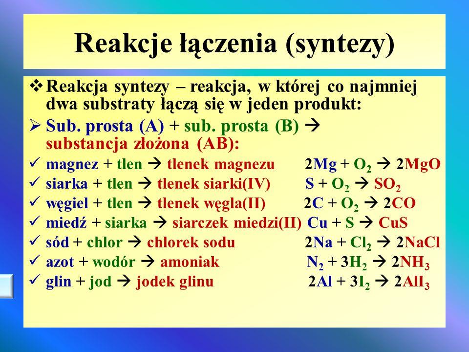 Reakcje łączenia (syntezy)  Reakcja syntezy – reakcja, w której co najmniej dwa substraty łączą się w jeden produkt:  Sub. prosta (A) + sub. prosta