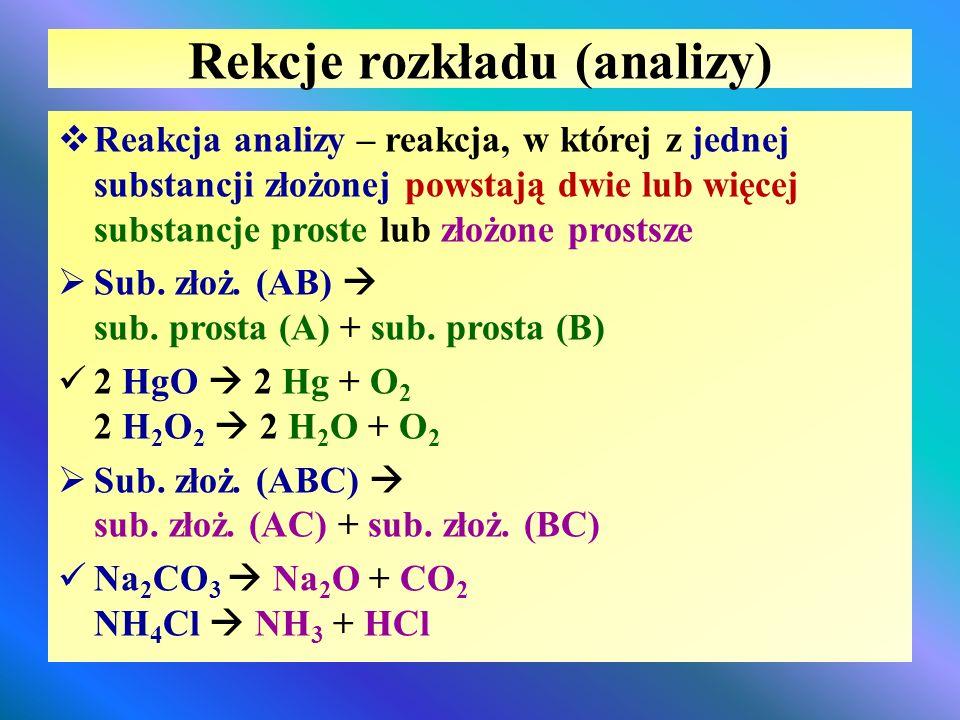Rekcje rozkładu (analizy)  Reakcja analizy – reakcja, w której z jednej substancji złożonej powstają dwie lub więcej substancje proste lub złożone pr