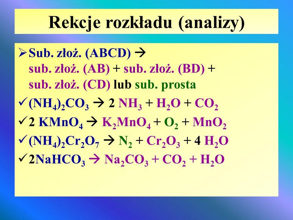 Rekcje rozkładu (analizy)  Sub. złoż. (ABCD)  sub. złoż. (AB) + sub. złoż. (BD) + sub. złoż. (CD) lub sub. prosta (NH 4 ) 2 CO 3  2 NH 3 + H 2 O +