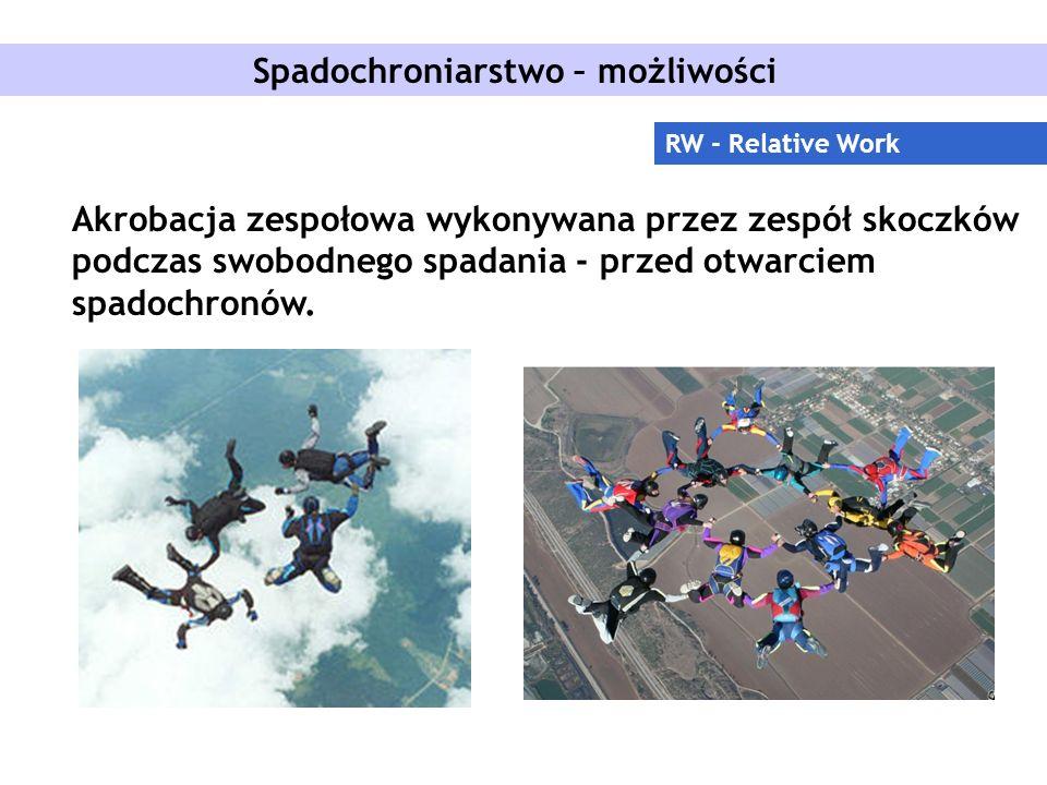Spadochroniarstwo – możliwości RW - Relative Work Akrobacja zespołowa wykonywana przez zespół skoczków podczas swobodnego spadania - przed otwarciem spadochronów.