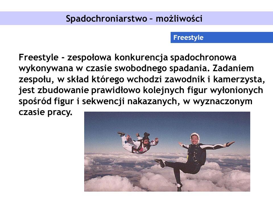 Spadochroniarstwo – możliwości Freestyle Freestyle - zespołowa konkurencja spadochronowa wykonywana w czasie swobodnego spadania.