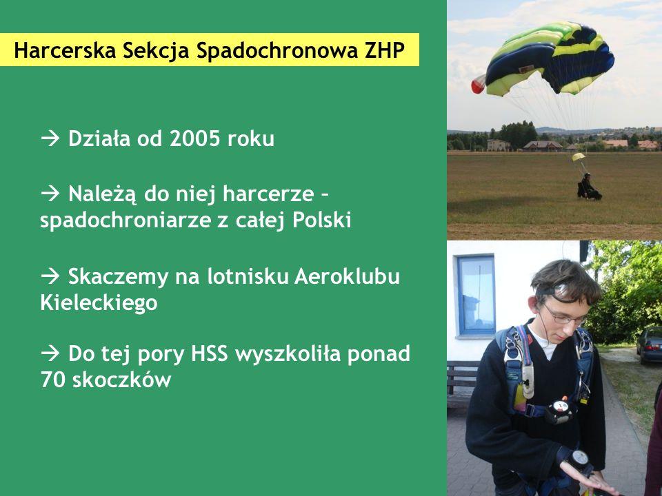 Harcerska Sekcja Spadochronowa ZHP  Działa od 2005 roku  Należą do niej harcerze – spadochroniarze z całej Polski  Do tej pory HSS wyszkoliła ponad 70 skoczków  Skaczemy na lotnisku Aeroklubu Kieleckiego