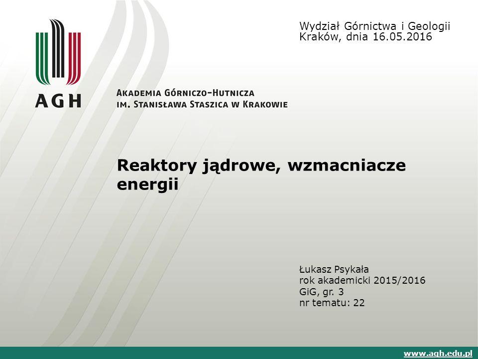 Reaktory jądrowe, wzmacniacze energii Łukasz Psykała rok akademicki 2015/2016 GiG, gr.