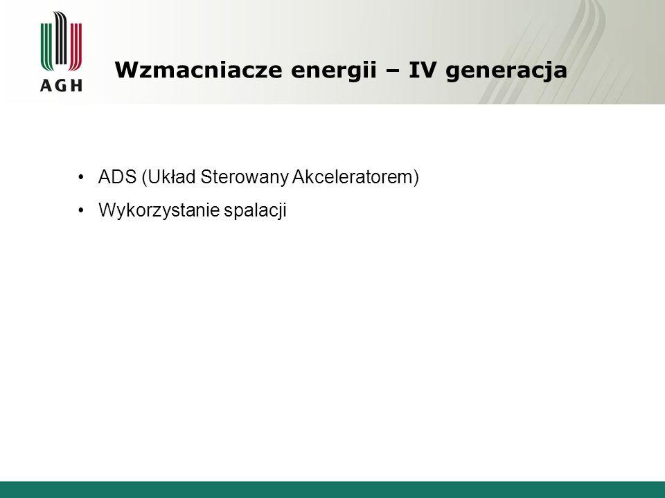 Wzmacniacze energii – IV generacja ADS (Układ Sterowany Akceleratorem) Wykorzystanie spalacji