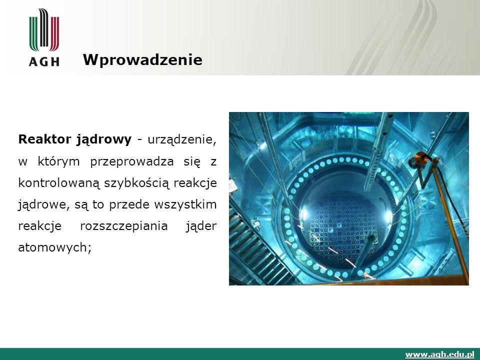 Wprowadzenie Reaktor jądrowy - urządzenie, w którym przeprowadza się z kontrolowaną szybkością reakcje jądrowe, są to przede wszystkim reakcje rozszczepiania jąder atomowych; reakcje jądrowereakcje jądrowe www.agh.edu.pl