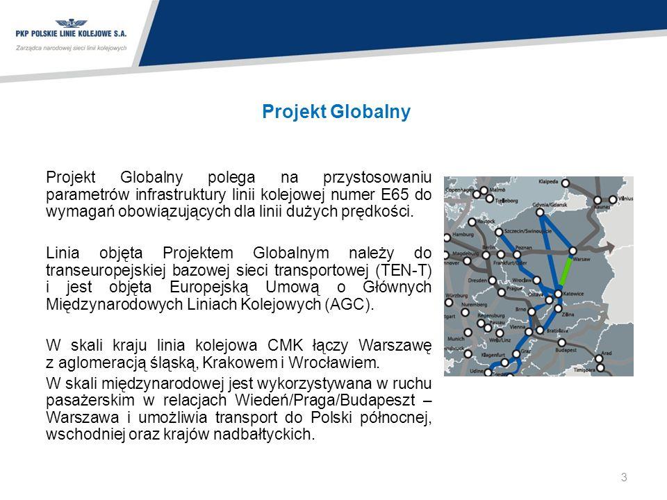 Projekt Globalny Projekt Globalny polega na przystosowaniu parametrów infrastruktury linii kolejowej numer E65 do wymagań obowiązujących dla linii duż
