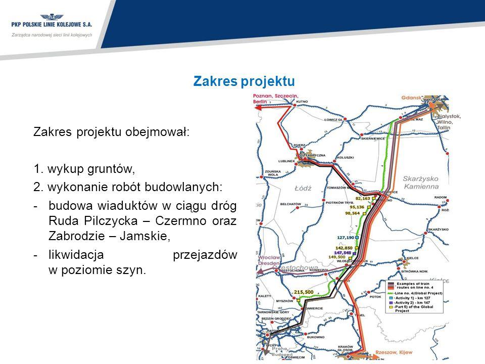 Zakres projektu Zakres projektu obejmował: 1. wykup gruntów, 2. wykonanie robót budowlanych: -budowa wiaduktów w ciągu dróg Ruda Pilczycka – Czermno o