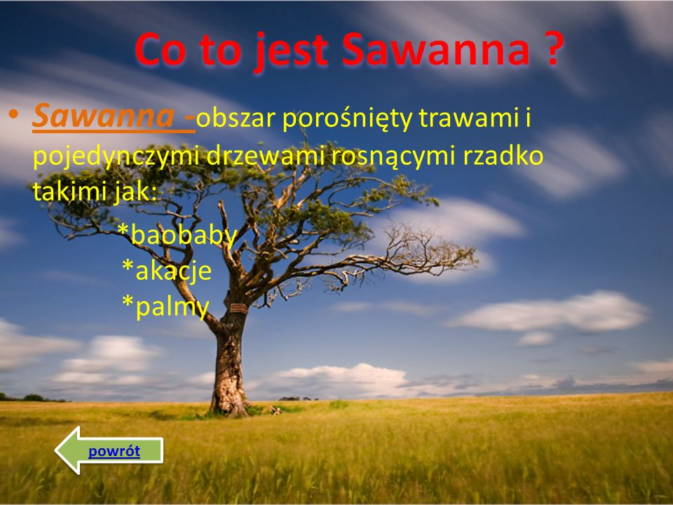  Co to jest Sawanna ? Co to jest Sawanna ?  Co to jest Sahel ? Co to jest Sahel ?  Położenie Sawanny Położenie Sawanny  Klimat na Sawannie Klimat