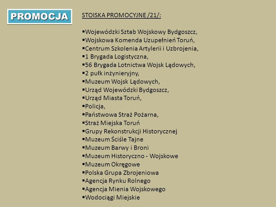 PROMOCJAPROMOCJA STOISKA PROMOCYJNE /21/:  Wojewódzki Sztab Wojskowy Bydgoszcz,  Wojskowa Komenda Uzupełnień Toruń,  Centrum Szkolenia Artylerii i Uzbrojenia,  1 Brygada Logistyczna,  56 Brygada Lotnictwa Wojsk Lądowych,  2 pułk inżynieryjny,  Muzeum Wojsk Lądowych,  Urząd Wojewódzki Bydgoszcz,  Urząd Miasta Toruń,  Policja,  Państwowa Straż Pożarna,  Straż Miejska Toruń  Grupy Rekonstrukcji Historycznej  Muzeum Ściśle Tajne  Muzeum Barwy i Broni  Muzeum Historyczno - Wojskowe  Muzeum Okręgowe  Polska Grupa Zbrojeniowa  Agencja Rynku Rolnego  Agencja Mienia Wojskowego  Wodociągi Miejskie