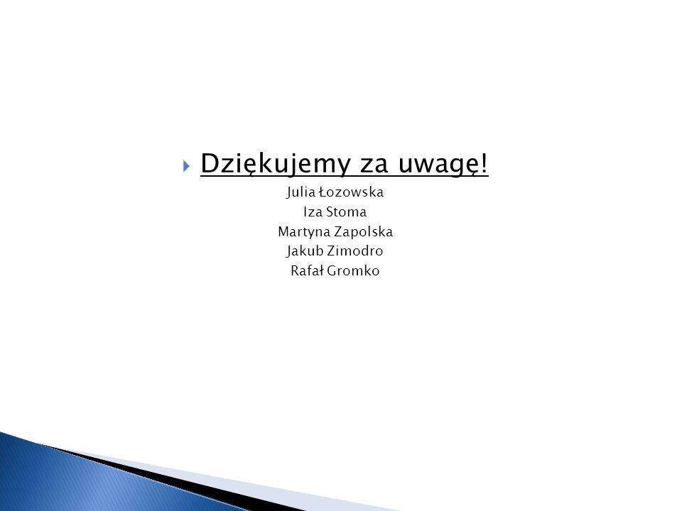  Dziękujemy za uwagę! Julia Łozowska Iza Stoma Martyna Zapolska Jakub Zimodro Rafał Gromko