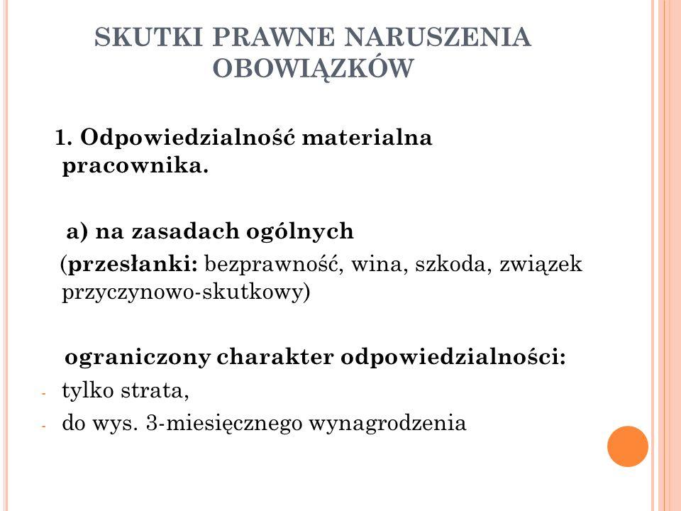 SKUTKI PRAWNE NARUSZENIA OBOWIĄZKÓW 1. Odpowiedzialność materialna pracownika.