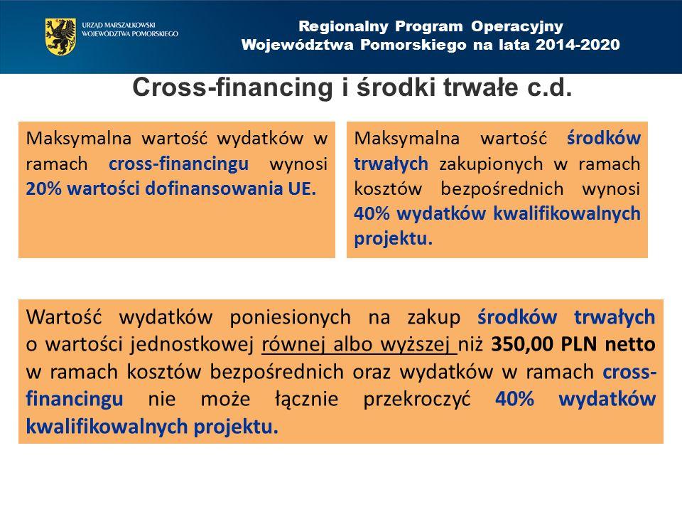 Cross-financing i środki trwałe c.d. Maksymalna wartość wydatków w ramach cross-financingu wynosi 20% wartości dofinansowania UE. Maksymalna wartość ś