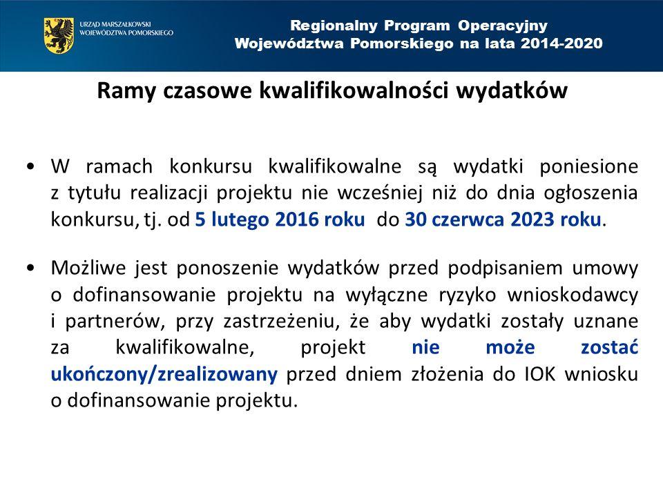 Regionalny Program Operacyjny Województwa Pomorskiego na lata 2014-2020 Warunki kwalifikowalności wydatku został faktycznie poniesiony; jest zgodny z przepisami prawa unijnego i krajowego; jest zgodny z RPO WP i SzOOP; został uwzględniony w budżecie projektu; został poniesiony zgodnie z postanowieniami umowy o dofinansowanie; jest niezbędny do realizacji celów projektu; został dokonany w sposób przejrzysty, racjonalny i efektywny; został należycie udokumentowany; został wskazany we wniosku o płatność; dotyczy towarów dostarczonych lub usług wykonanych lub robót zrealizowanych; jest zgodny z innymi warunkami uznania wydatku za kwalifikowalny.