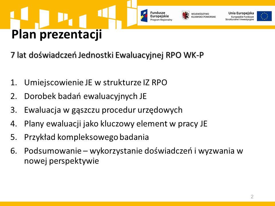 Plan prezentacji 7 lat doświadczeń Jednostki Ewaluacyjnej RPO WK-P 1.Umiejscowienie JE w strukturze IZ RPO 2.Dorobek badań ewaluacyjnych JE 3.Ewaluacja w gąszczu procedur urzędowych 4.Plany ewaluacji jako kluczowy element w pracy JE 5.Przykład kompleksowego badania 6.Podsumowanie – wykorzystanie doświadczeń i wyzwania w nowej perspektywie 2