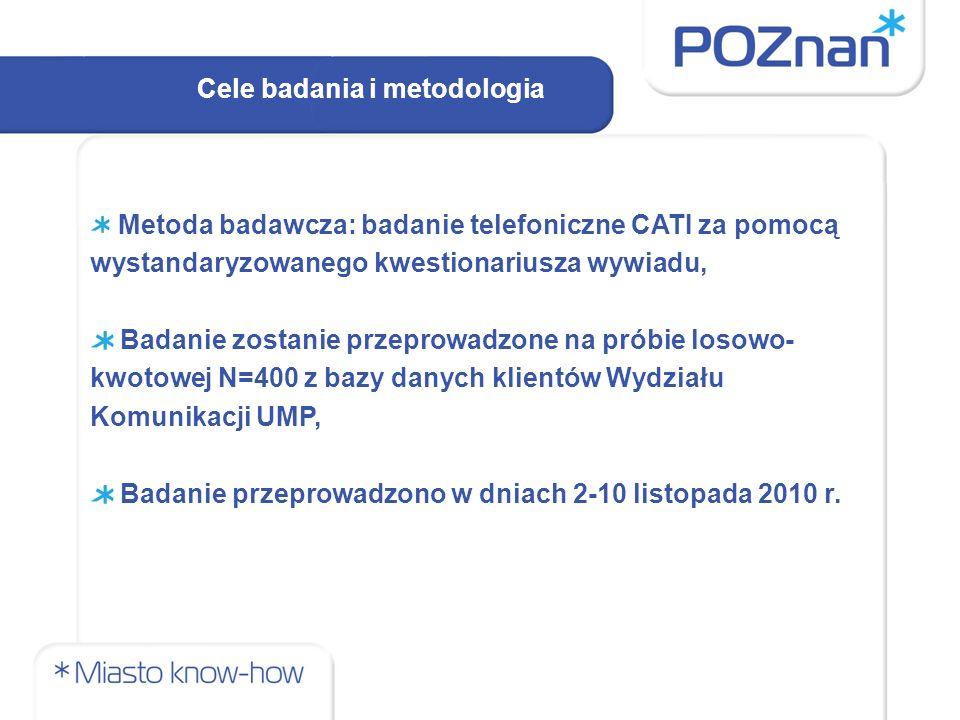 Cele badania i metodologia Metoda badawcza: badanie telefoniczne CATI za pomocą wystandaryzowanego kwestionariusza wywiadu, Badanie zostanie przeprowadzone na próbie losowo- kwotowej N=400 z bazy danych klientów Wydziału Komunikacji UMP, Badanie przeprowadzono w dniach 2-10 listopada 2010 r.