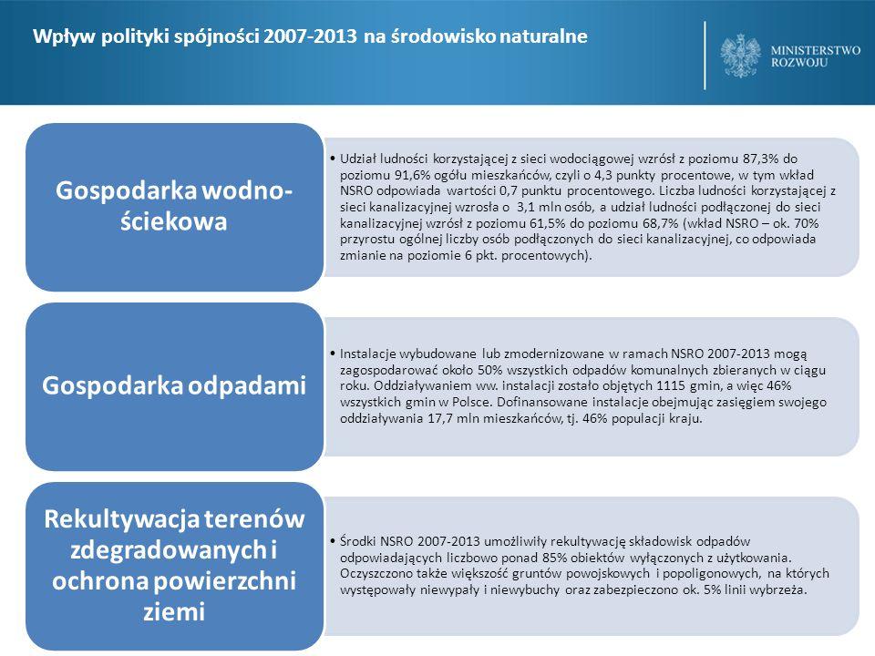 Dzięki inwestycjom w infrastrukturę przeciwpowodzio wą oraz wielozadaniowe zbiorniki retencyjne w ramach NSRO 2007-2013, ochroną przeciwpowodzio wą objęto około 4% mieszkańców kraju.