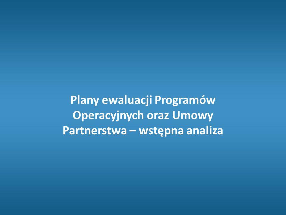  Przegląd planów ewaluacji objął plany dla EFRR, EFS i FS; łącznie 217 PO (do końca maja 2016)  Liczba ewaluacji zaplanowanych średnio na jeden PO – 11 (3 w okresie 2007-2013)  W tym średnio 5 ewaluacji wpływu na PO (mniej niż 1 w okresie 2007-2013) + 2 mieszane (wpływu i procesowe/proceduralne)  Nierówny rozkład planowanych ewaluacji w PCZ – liderzy – Estonia, Litwa i Polska  Wyniki oceny planów – łącznie 217 przeszło proces oceny (do maja 2016) – najsłabsze oceny w obszarze – dostępność danych oraz metody i koncepcja badań Plany ewaluacji – perspektywa KE