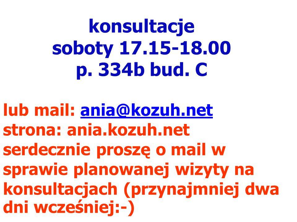 konsultacje soboty 17.15-18.00 p. 334b bud. C lub mail: ania@kozuh.net strona: ania.kozuh.net serdecznie proszę o mail w sprawie planowanej wizyty na