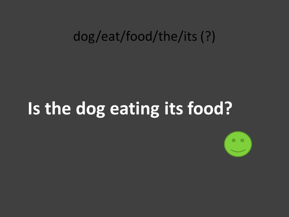 dog/eat/food/the/its (?) Is the dog eating its food?