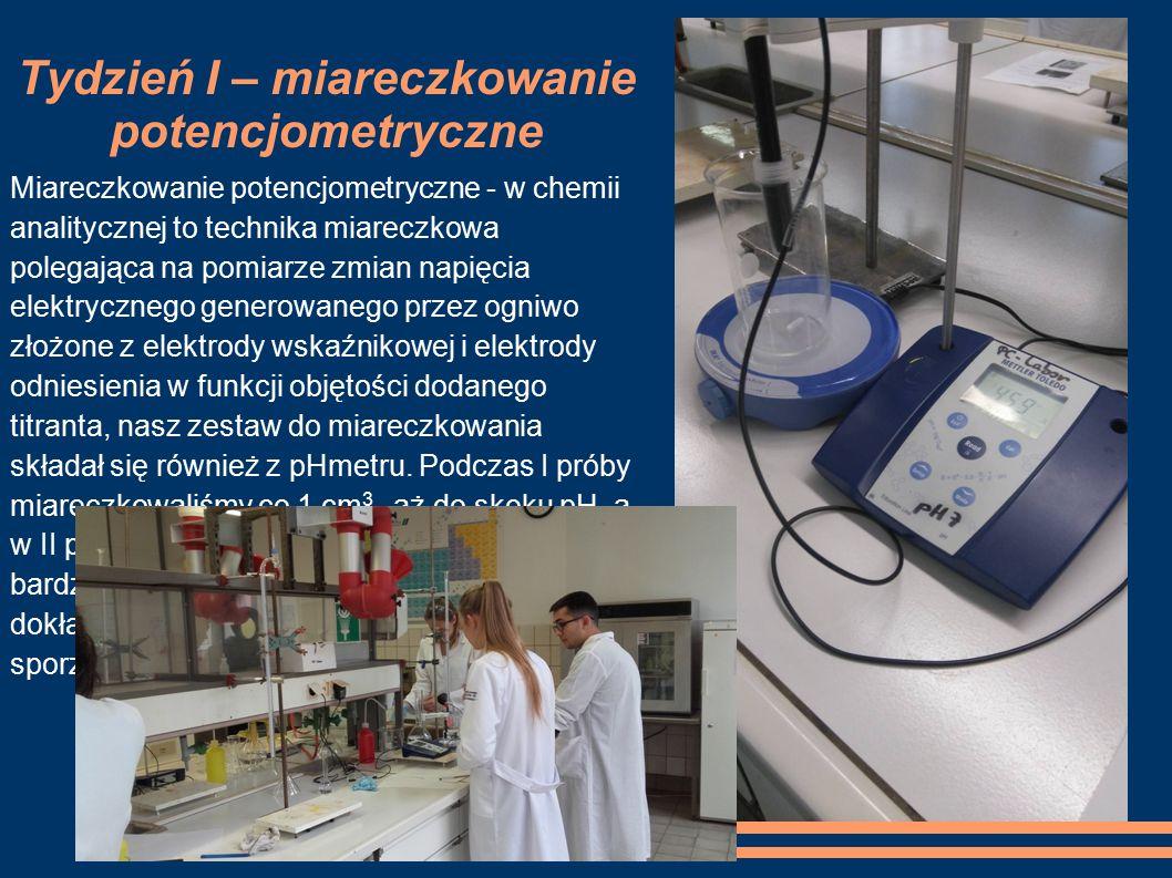 Tydzień I – miareczkowanie potencjometryczne Miareczkowanie potencjometryczne - w chemii analitycznej to technika miareczkowa polegająca na pomiarze z