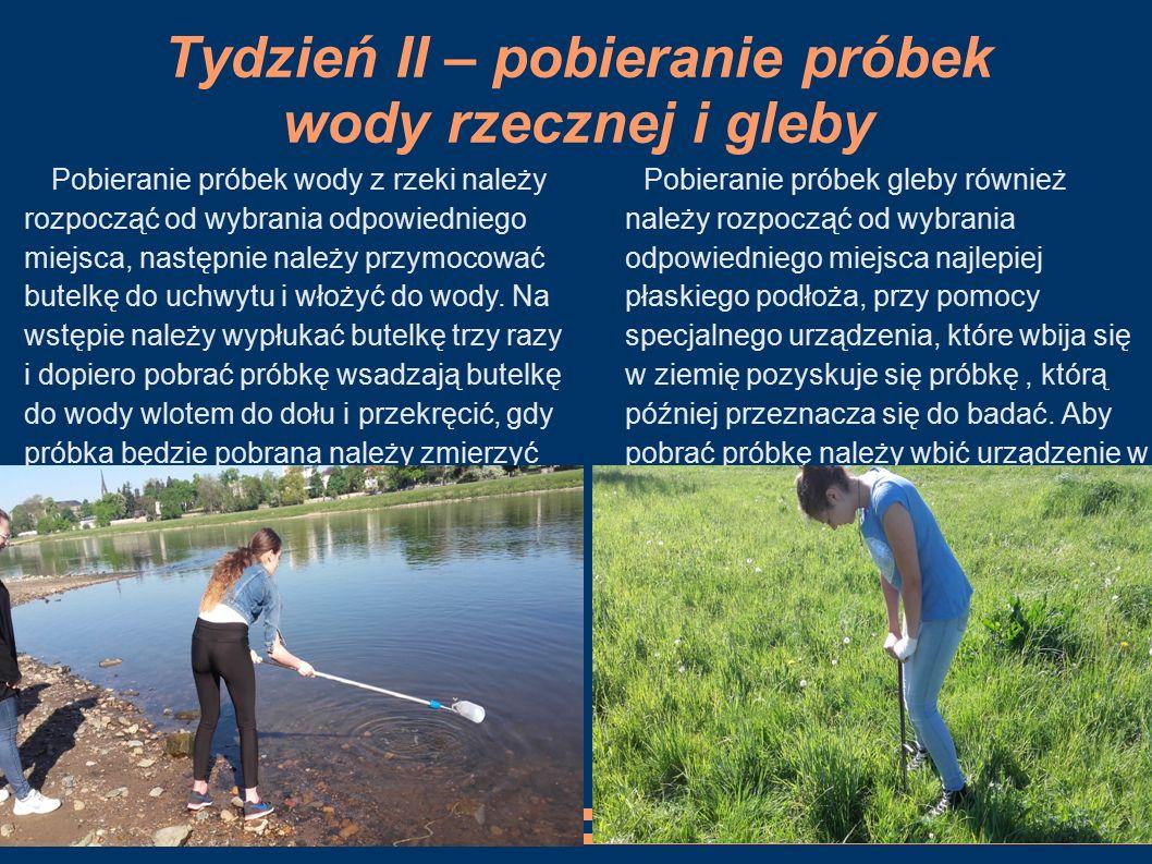 Tydzień II – pobieranie próbek wody rzecznej i gleby Pobieranie próbek gleby również należy rozpocząć od wybrania odpowiedniego miejsca najlepiej płas