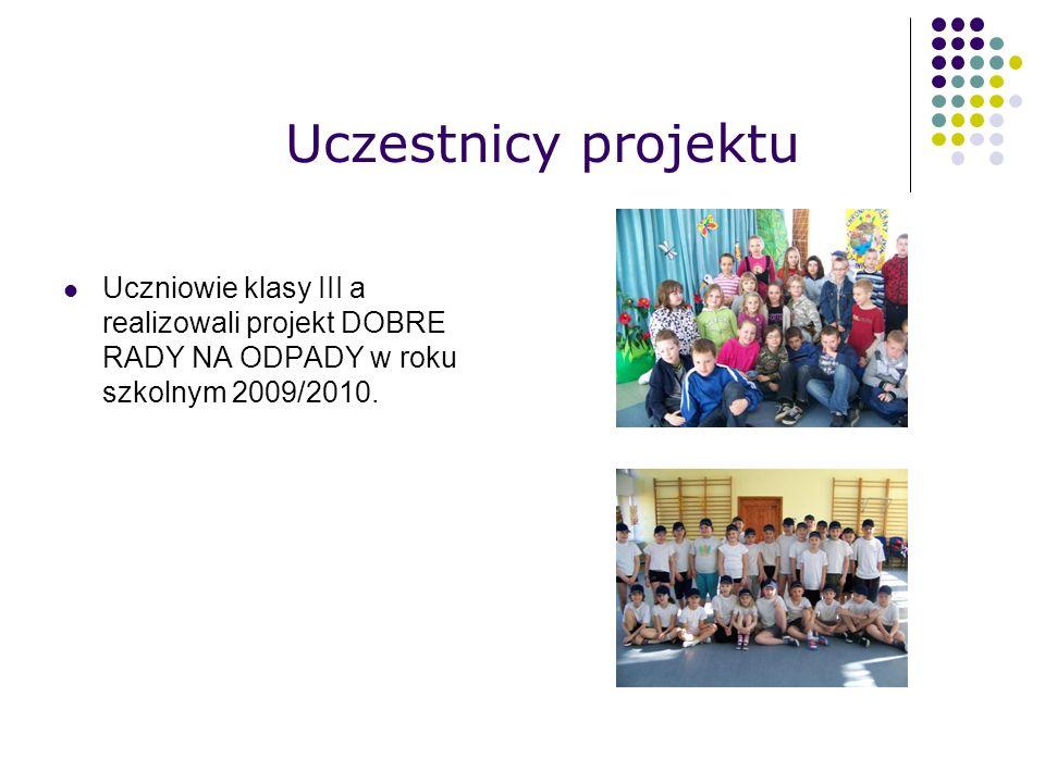 Uczestnicy projektu Uczniowie klasy III a realizowali projekt DOBRE RADY NA ODPADY w roku szkolnym 2009/2010.