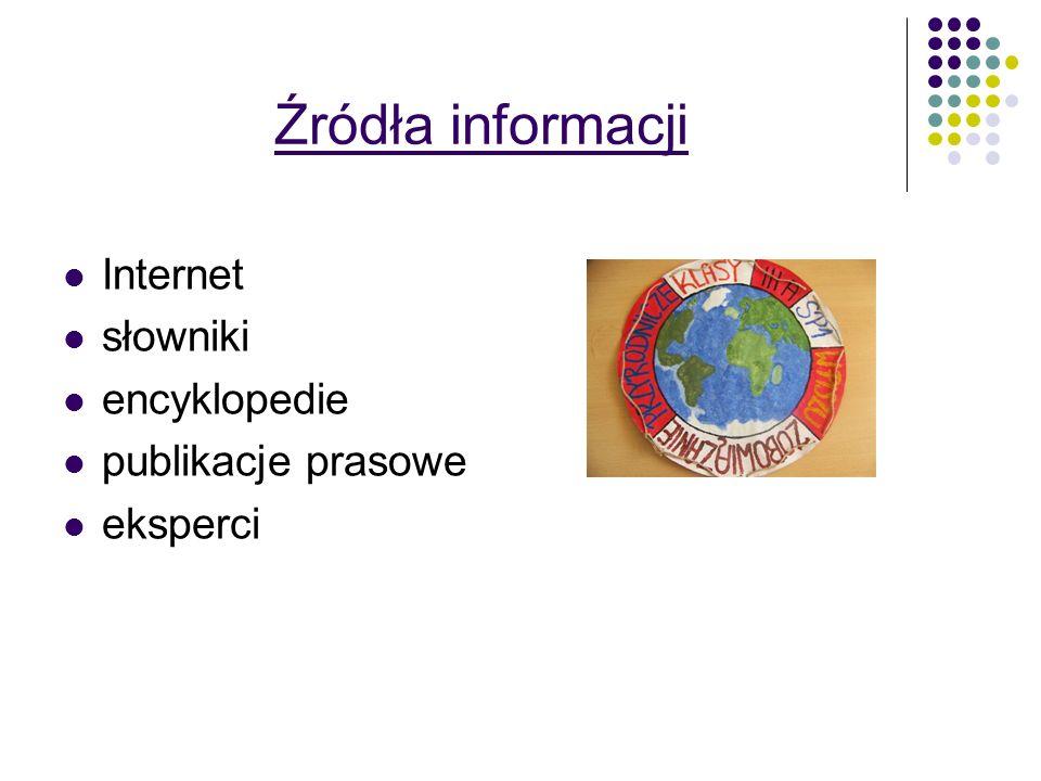 Źródła informacji Internet słowniki encyklopedie publikacje prasowe eksperci