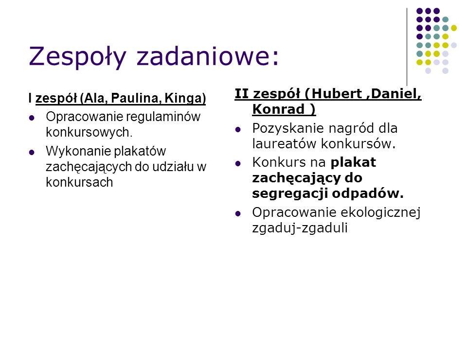 Zespoły zadaniowe: I zespół (Ala, Paulina, Kinga) Opracowanie regulaminów konkursowych.