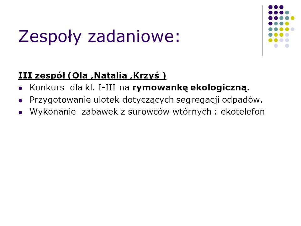 Zespoły zadaniowe: III zespół (Ola,Natalia,Krzyś ) Konkurs dla kl.