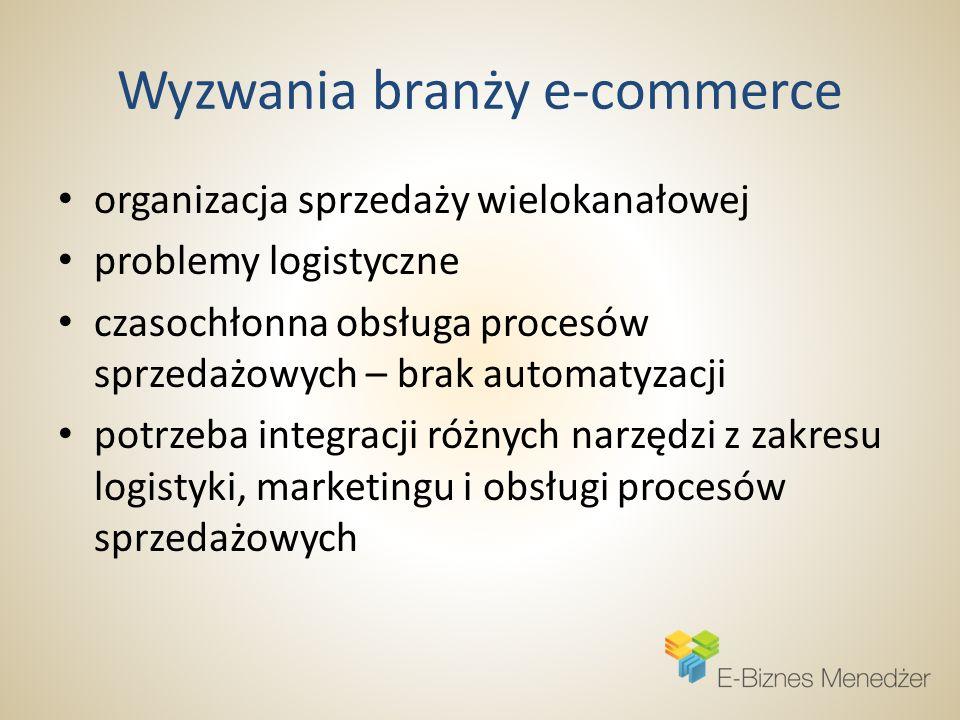 Wyzwania branży e-commerce organizacja sprzedaży wielokanałowej problemy logistyczne czasochłonna obsługa procesów sprzedażowych – brak automatyzacji potrzeba integracji różnych narzędzi z zakresu logistyki, marketingu i obsługi procesów sprzedażowych