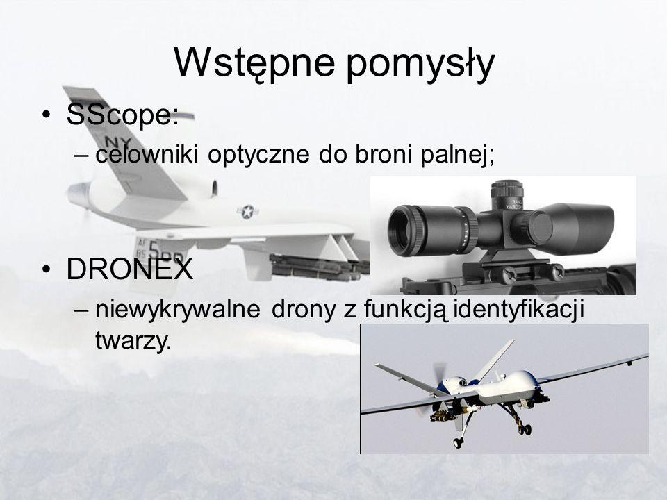 Wstępne pomysły SScope: –celowniki optyczne do broni palnej; DRONEX –niewykrywalne drony z funkcją identyfikacji twarzy.