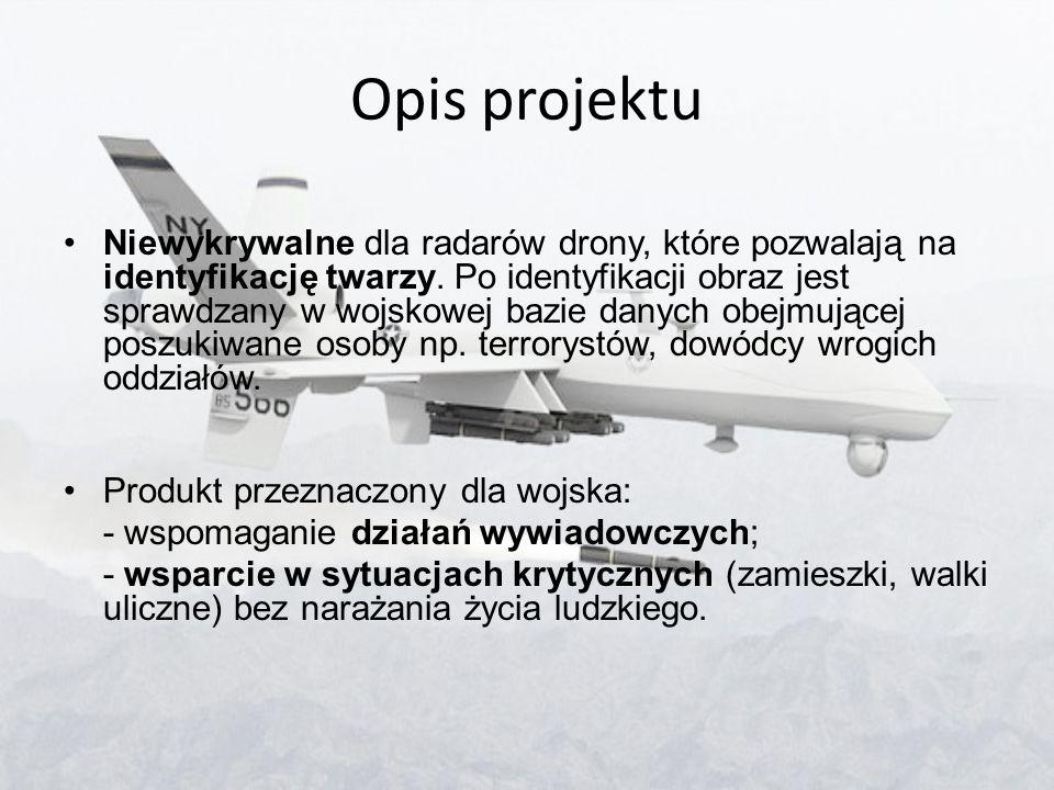 Opis projektu Niewykrywalne dla radarów drony, które pozwalają na identyfikację twarzy. Po identyfikacji obraz jest sprawdzany w wojskowej bazie danyc