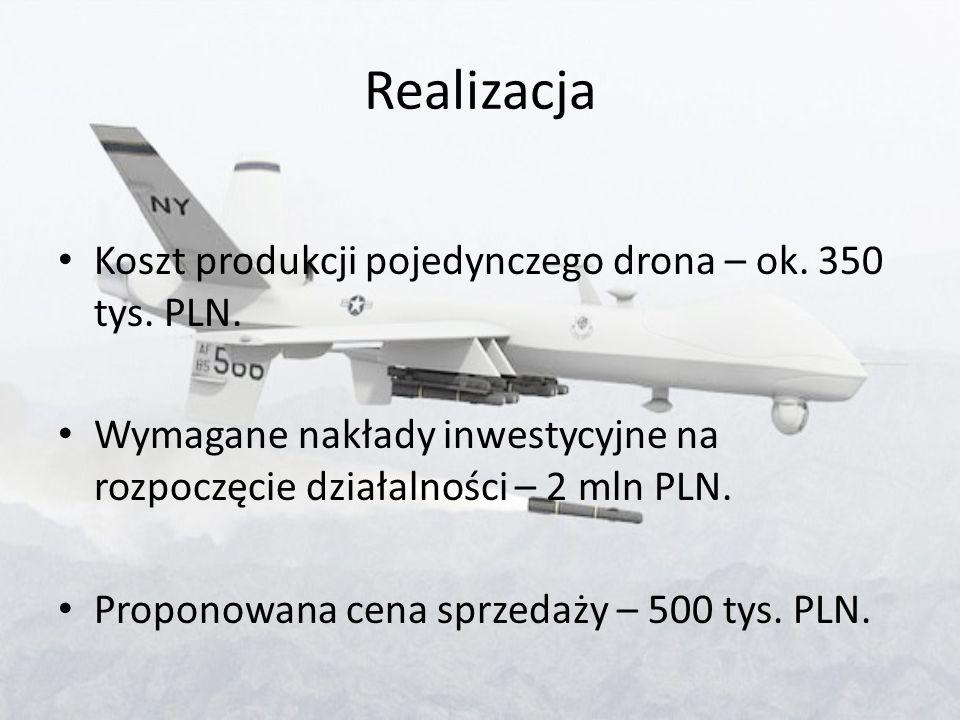 Realizacja Koszt produkcji pojedynczego drona – ok. 350 tys. PLN. Wymagane nakłady inwestycyjne na rozpoczęcie działalności – 2 mln PLN. Proponowana c