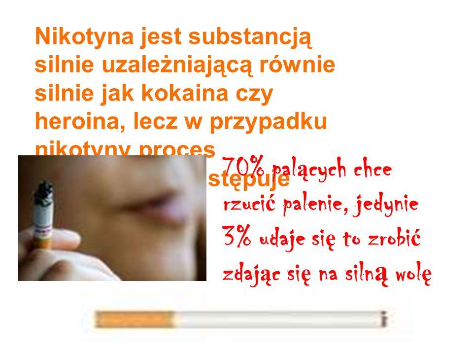 Nikotyna jest substancją silnie uzależniającą równie silnie jak kokaina czy heroina, lecz w przypadku nikotyny proces uzależnienia następuje szybciej.
