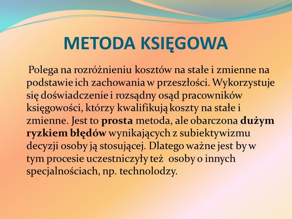 METODA KSIĘGOWA Polega na rozróżnieniu kosztów na stałe i zmienne na podstawie ich zachowania w przeszłości.