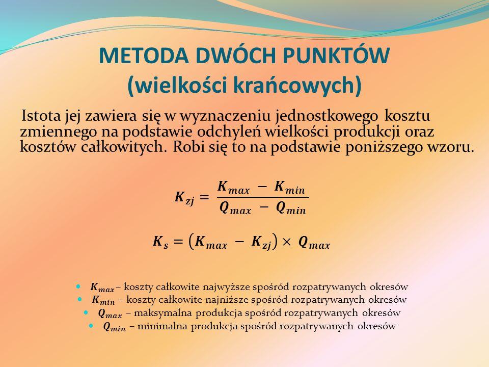 METODA DWÓCH PUNKTÓW (wielkości krańcowych)