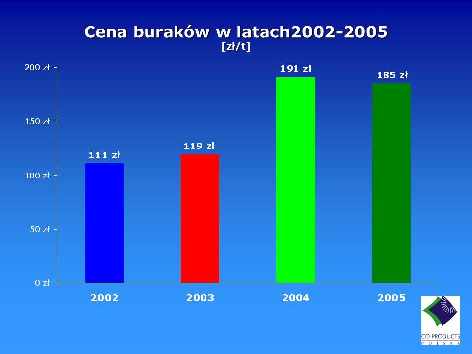 Cena buraków w latach2002-2005 [zł/t]