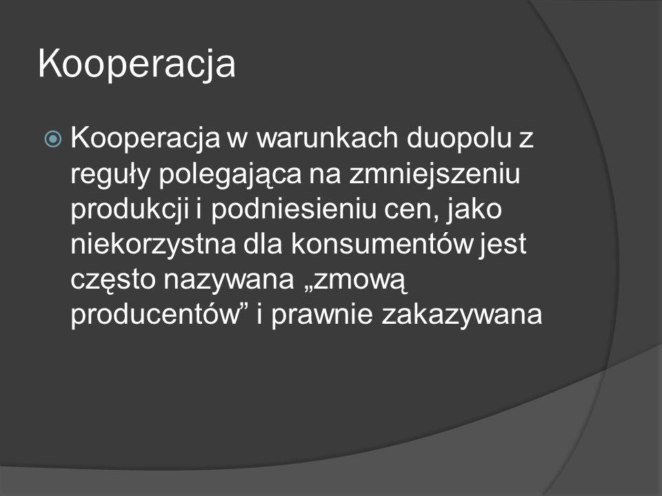 """Kooperacja  Kooperacja w warunkach duopolu z reguły polegająca na zmniejszeniu produkcji i podniesieniu cen, jako niekorzystna dla konsumentów jest często nazywana """"zmową producentów i prawnie zakazywana"""
